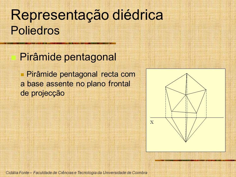 Cidália Fonte – Faculdade de Ciências e Tecnologia da Universidade de Coimbra X Representação diédrica Poliedros Pirâmide pentagonal Pirâmide pentagon