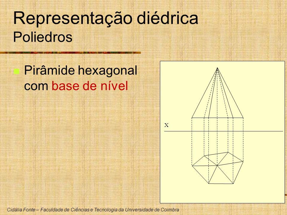 Cidália Fonte – Faculdade de Ciências e Tecnologia da Universidade de Coimbra Representação diédrica Poliedros Pirâmide hexagonal com base de nível X