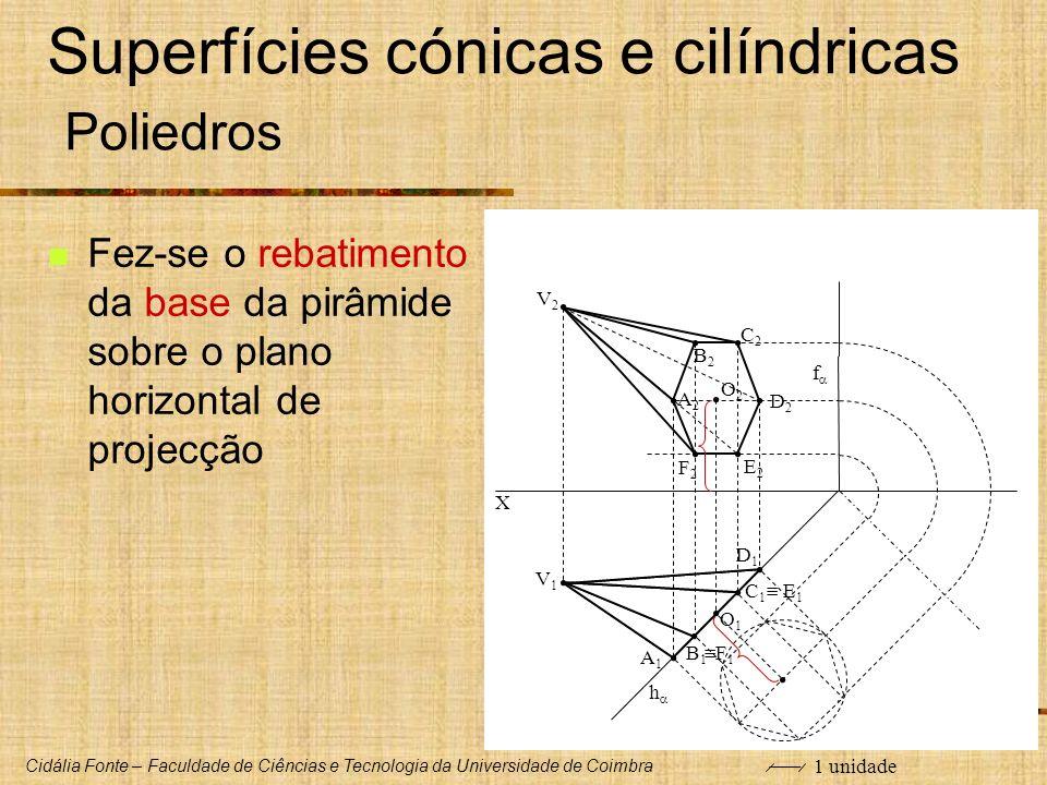 Cidália Fonte – Faculdade de Ciências e Tecnologia da Universidade de Coimbra X O1O1 O2O2 V1V1 V2V2 C1C1 A1A1 B1B1 D1D1 E 1 F 1 f h Superfícies cónica