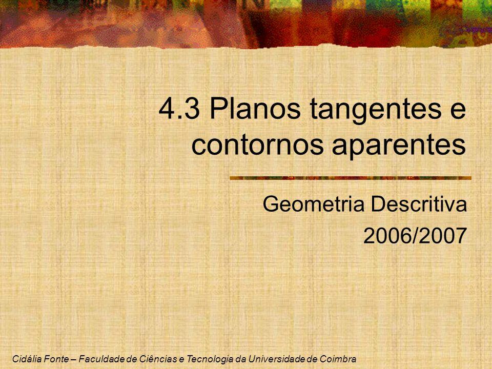 Cidália Fonte – Faculdade de Ciências e Tecnologia da Universidade de Coimbra 4.3 Planos tangentes e contornos aparentes Geometria Descritiva 2006/200