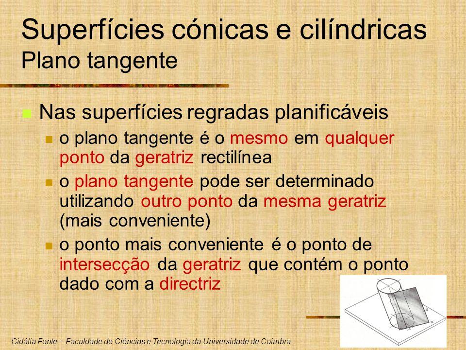 Cidália Fonte – Faculdade de Ciências e Tecnologia da Universidade de Coimbra Superfícies cónicas e cilíndricas Plano tangente Nas superfícies regrada