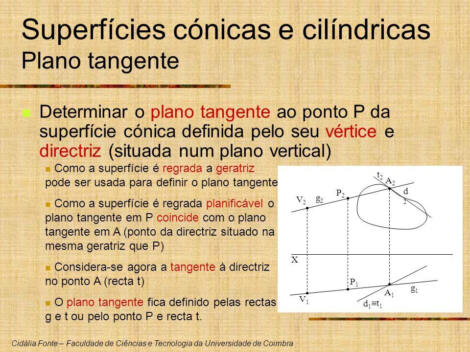 Cidália Fonte – Faculdade de Ciências e Tecnologia da Universidade de Coimbra Determinar o plano tangente ao ponto P da superfície cónica definida pel