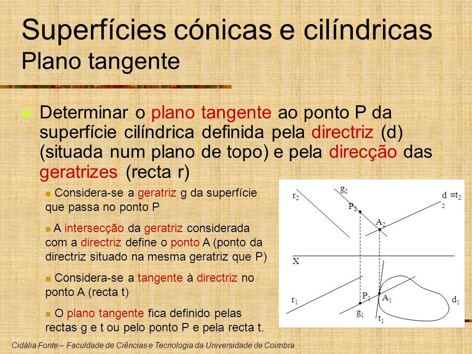Cidália Fonte – Faculdade de Ciências e Tecnologia da Universidade de Coimbra X d1d1 d2d2 P1P1 P2P2 r2r2 r1r1 Determinar o plano tangente ao ponto P d