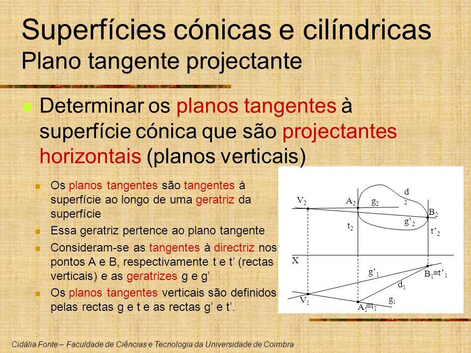 Cidália Fonte – Faculdade de Ciências e Tecnologia da Universidade de Coimbra X V1V1 V2V2 d1d1 d2d2 Superfícies cónicas e cilíndricas Plano tangente p
