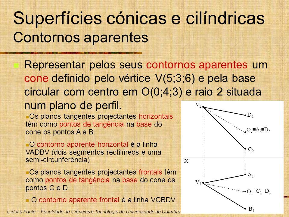 Cidália Fonte – Faculdade de Ciências e Tecnologia da Universidade de Coimbra Superfícies cónicas e cilíndricas Contornos aparentes Representar pelos