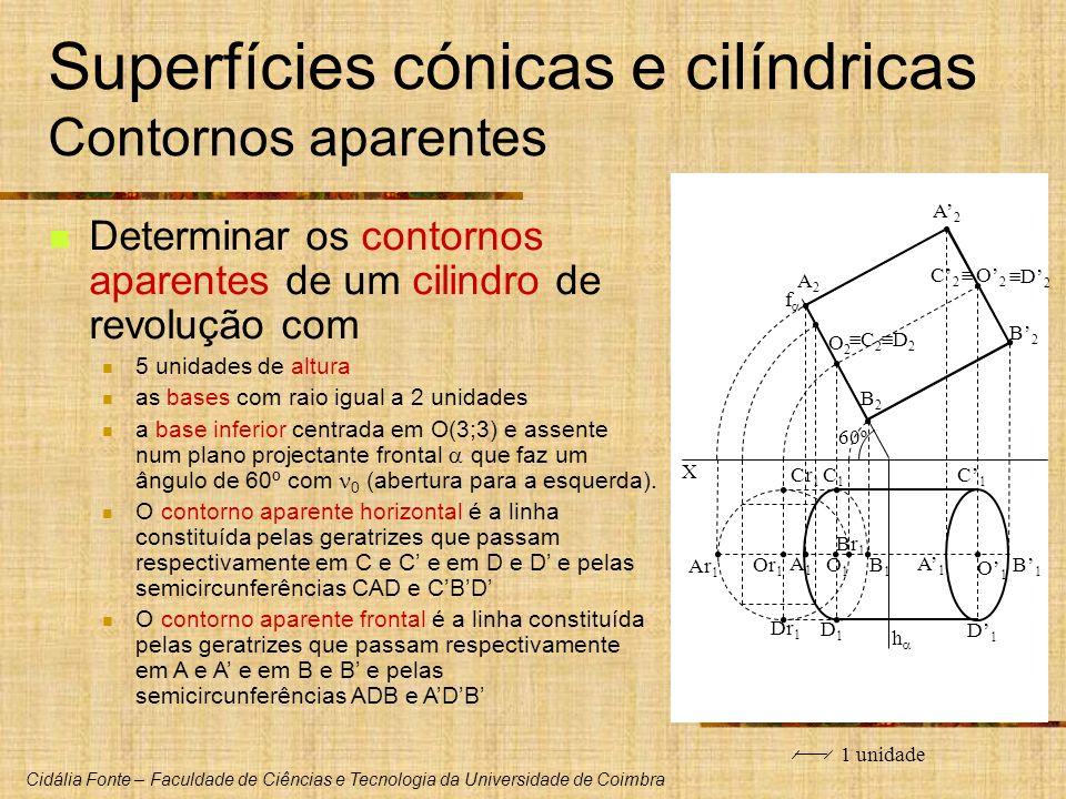 Cidália Fonte – Faculdade de Ciências e Tecnologia da Universidade de Coimbra Superfícies cónicas e cilíndricas Contornos aparentes Determinar os cont