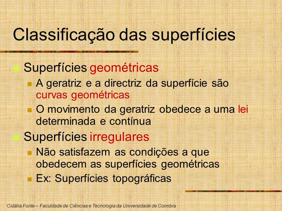 Cidália Fonte – Faculdade de Ciências e Tecnologia da Universidade de Coimbra Classificação das superfícies Superfícies geométricas A geratriz e a dir