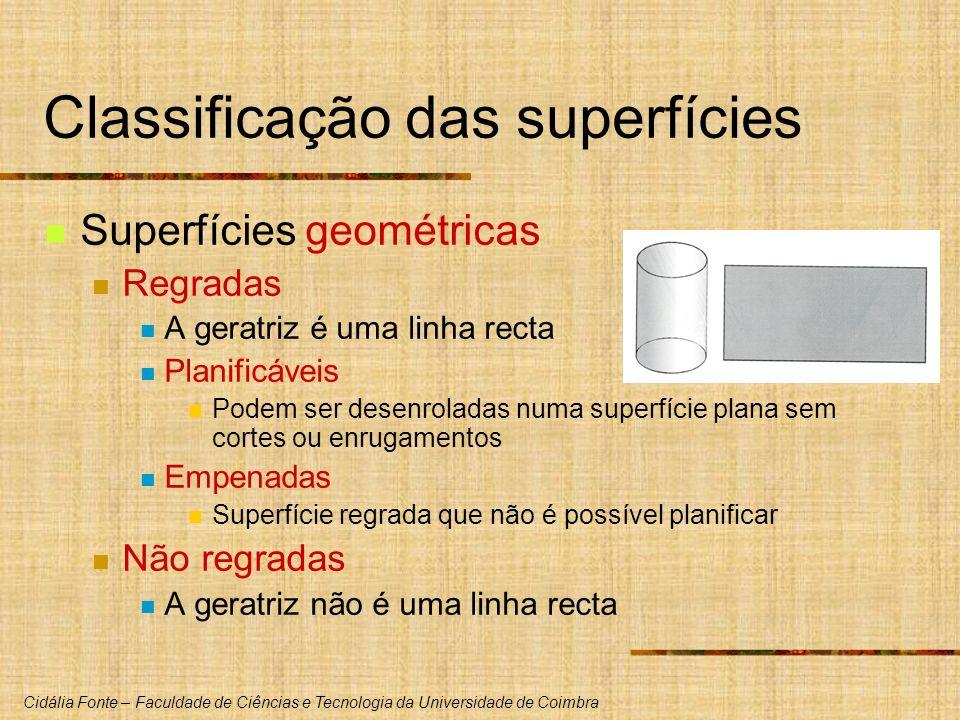 Cidália Fonte – Faculdade de Ciências e Tecnologia da Universidade de Coimbra Classificação das superfícies Superfícies geométricas Regradas A geratri