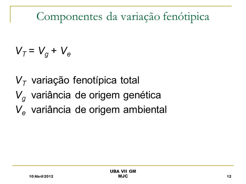 Componentes da variação fenótipica V T = V g + V e V T variação fenotípica total V g variância de origem genética V e variância de origem ambiental 10/Abril/201212 UBA VII GM MJC