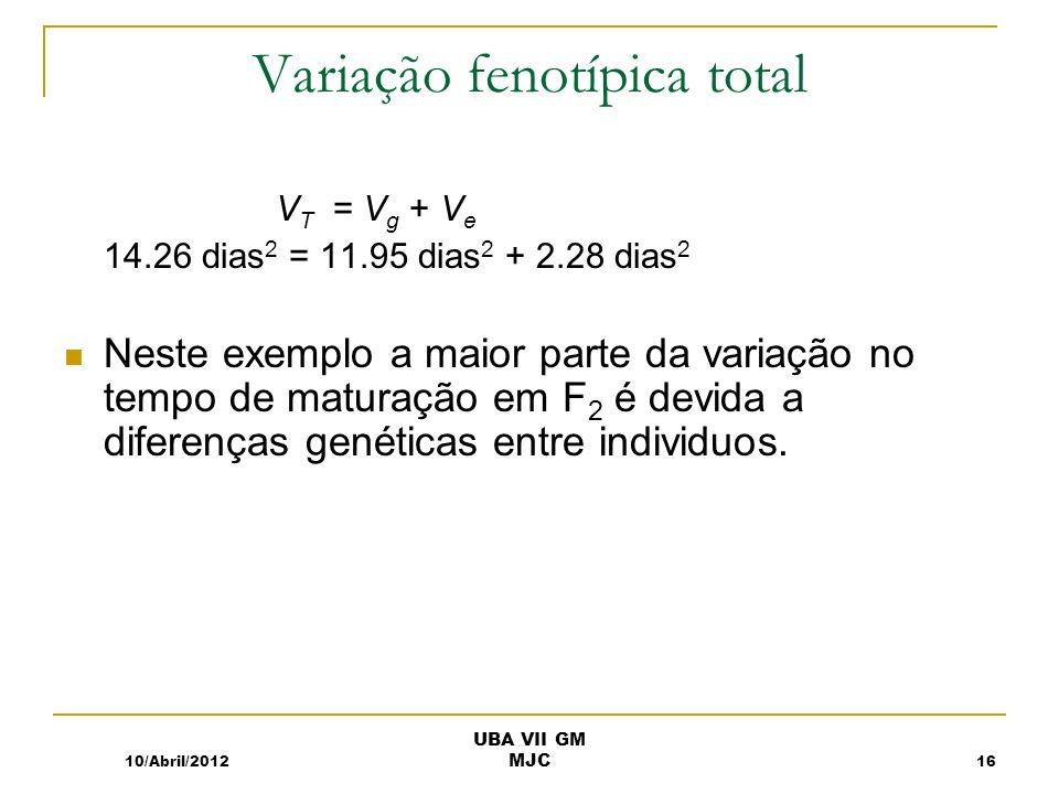 Variação fenotípica total V T = V g + V e 14.26 dias 2 = 11.95 dias 2 + 2.28 dias 2 Neste exemplo a maior parte da variação no tempo de maturação em F 2 é devida a diferenças genéticas entre individuos.
