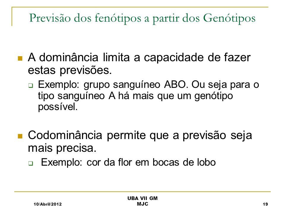 Previsão dos fenótipos a partir dos Genótipos A dominância limita a capacidade de fazer estas previsões. Exemplo: grupo sanguíneo ABO. Ou seja para o