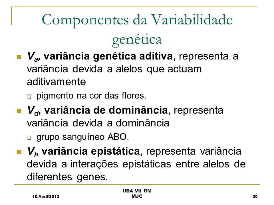 Componentes da Variabilidade genética V a, variância genética aditiva, representa a variância devida a alelos que actuam aditivamente pigmento na cor