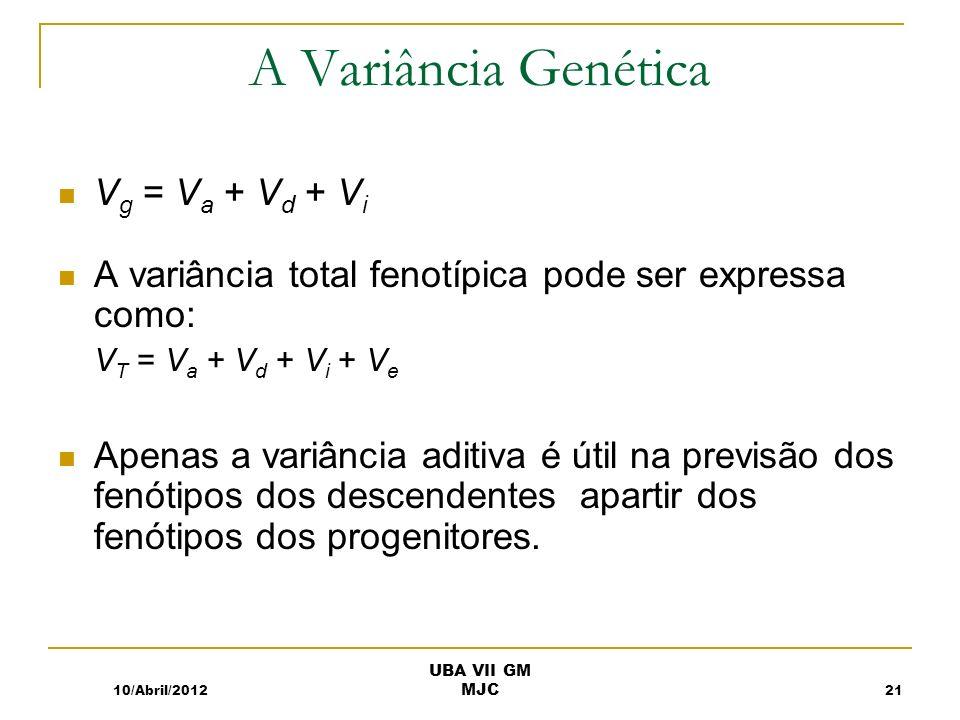 A Variância Genética V g = V a + V d + V i A variância total fenotípica pode ser expressa como: V T = V a + V d + V i + V e Apenas a variância aditiva é útil na previsão dos fenótipos dos descendentes apartir dos fenótipos dos progenitores.
