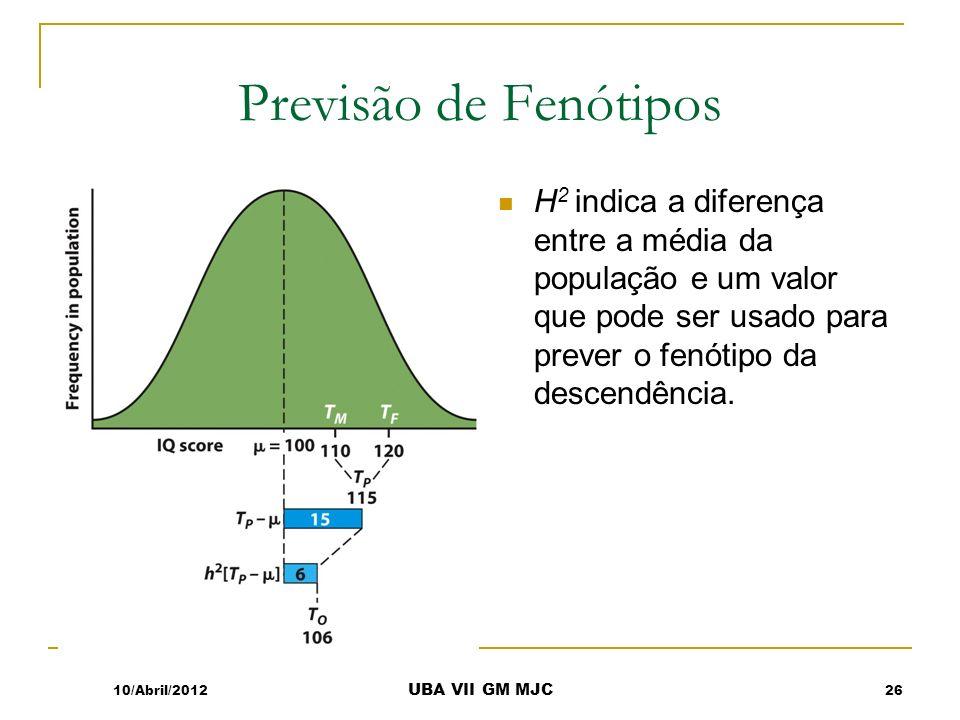 Previsão de Fenótipos H 2 indica a diferença entre a média da população e um valor que pode ser usado para prever o fenótipo da descendência. 10/Abril