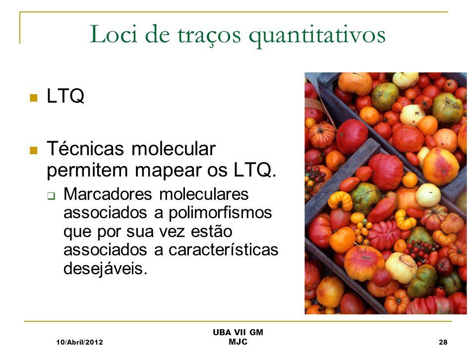 Loci de traços quantitativos LTQ Técnicas molecular permitem mapear os LTQ. Marcadores moleculares associados a polimorfismos que por sua vez estão as