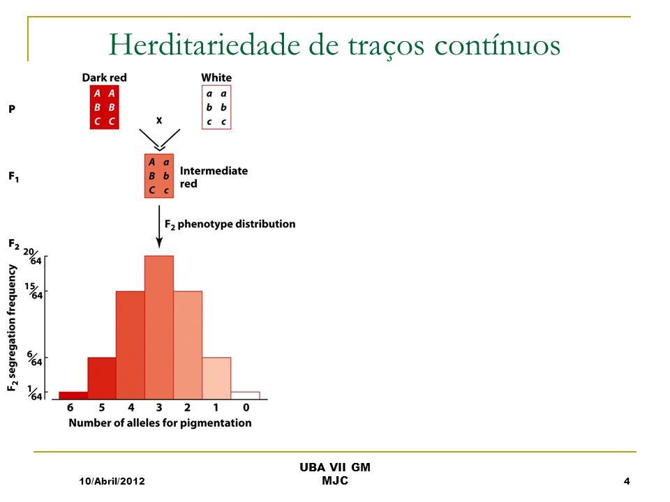Herditariedade de traços contínuos 10/Abril/20124 UBA VII GM MJC