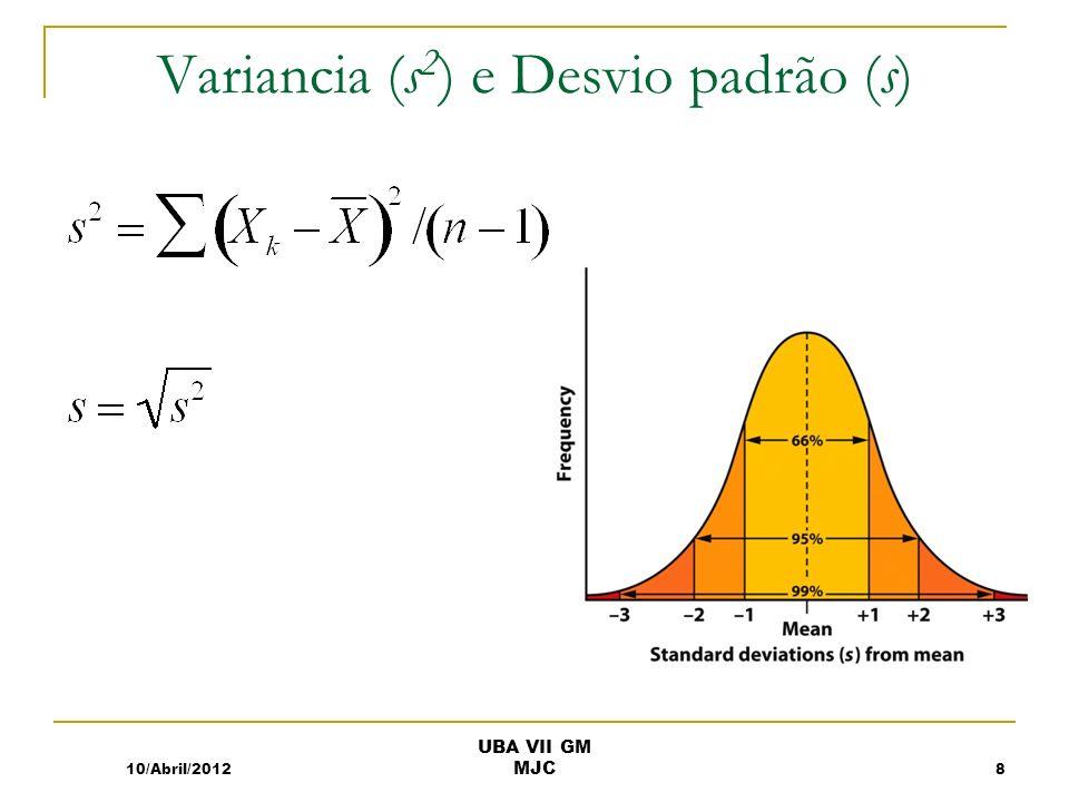 Variancia (s 2 ) e Desvio padrão (s) 10/Abril/20128 UBA VII GM MJC