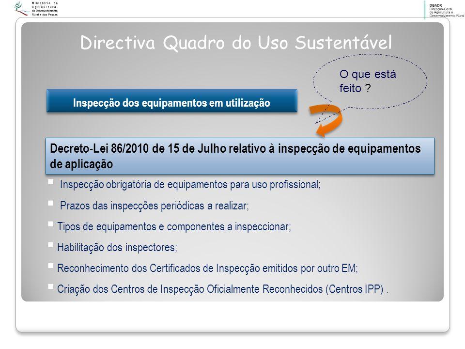 Inspecção dos equipamentos em utilização Decreto-Lei 86/2010 de 15 de Julho relativo à inspecção de equipamentos de aplicação Directiva Quadro do Uso