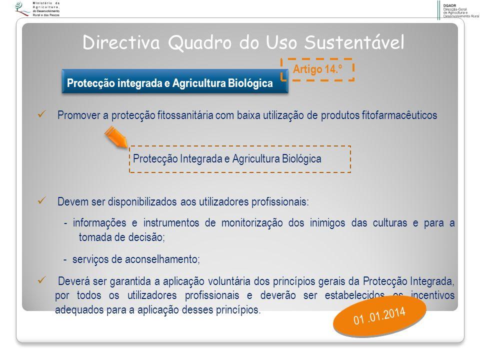 Promover a protecção fitossanitária com baixa utilização de produtos fitofarmacêuticos Protecção Integrada e Agricultura Biológica Devem ser disponibi