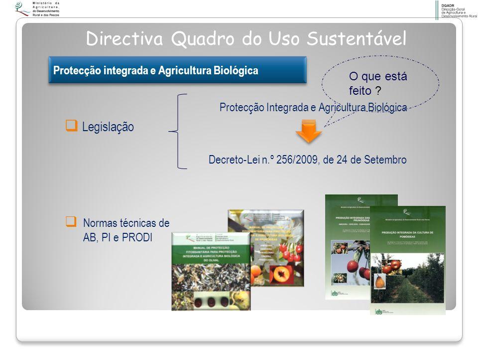Normas técnicas de AB, PI e PRODI Legislação Protecção Integrada e Agricultura Biológica Decreto-Lei n.º 256/2009, de 24 de Setembro Directiva Quadro