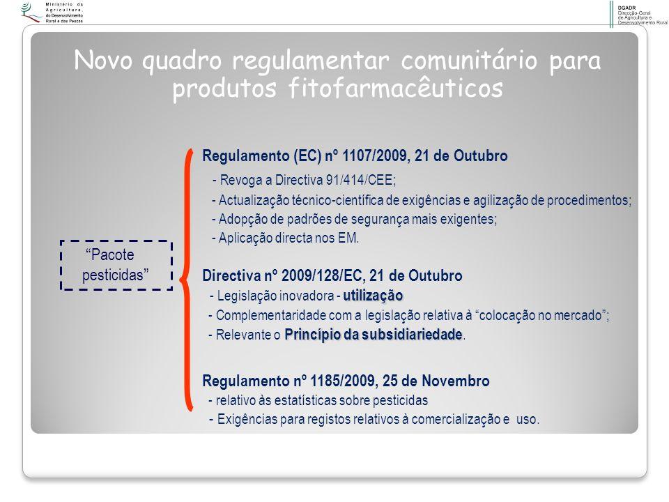 Novo quadro regulamentar comunitário para produtos fitofarmacêuticos Regulamento (EC) nº 1107/2009, 21 de Outubro - Revoga a Directiva 91/414/CEE; - A