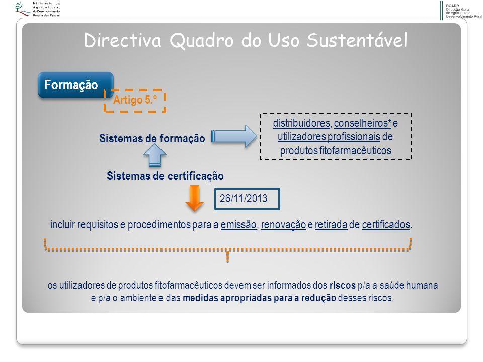 Formação Sistemas de formação distribuidores, conselheiros* e utilizadores profissionais de produtos fitofarmacêuticos incluir requisitos e procedimen