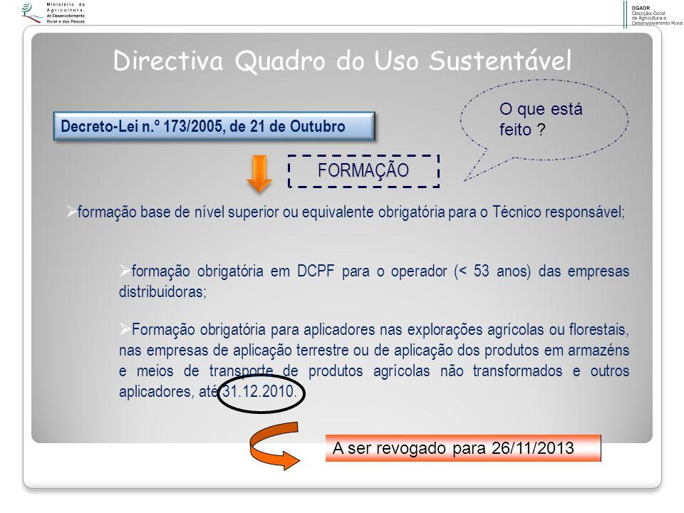 Formação na área de redução do risco e dos impactes ambientais na aplicação de PF Aplicação de Produtos Fitofarmacêuticos para Agricultores (35h)* Distribuição e Comercialização de Produtos Fitofarmacêuticos para Operadores que distribuem e comercializam produtos fitofarmacêuticos (35h) Distribuição, Comercialização e Aplicação de Produtos Fitofarmacêuticos para Técnicos (77h) Decreto-Lei n.º 173/2005, de 21 de Outubro O Despacho nº 5848/2002 (2ª série) do Secretário de Estado do Desenvolvimento Rural, publicado no Diário da República n.º 63, de 15 de Março, define os conteúdos programáticos e o regulamento que se aplica a candidaturas à realização destas acções de formação.