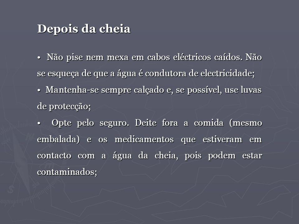Não pise nem mexa em cabos eléctricos caídos. Não se esqueça de que a água é condutora de electricidade; Não pise nem mexa em cabos eléctricos caídos.