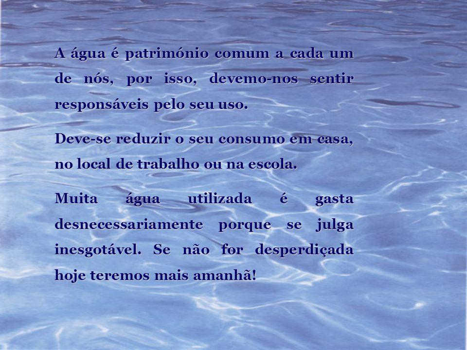 A água é património comum a cada um de nós, por isso, devemo-nos sentir responsáveis pelo seu uso. Deve-se reduzir o seu consumo em casa, no local de