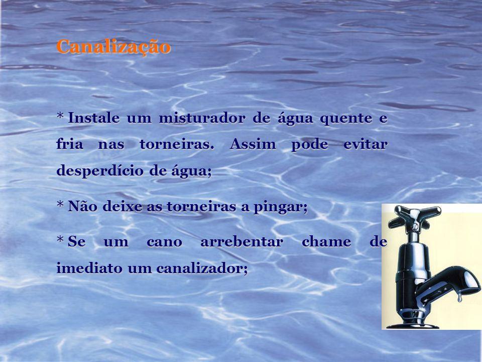Canalização * Mantenha em bom estado a canalização de torneiras, autoclismo e máquinas.