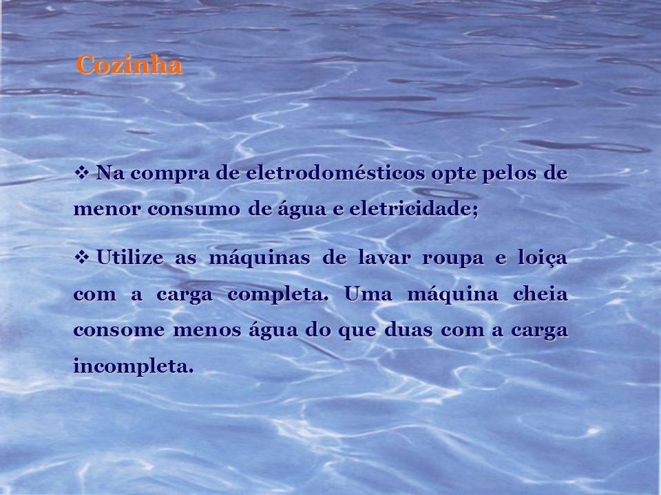 Cozinha Na compra de eletrodomésticos opte pelos de menor consumo de água e eletricidade; Na compra de eletrodomésticos opte pelos de menor consumo de