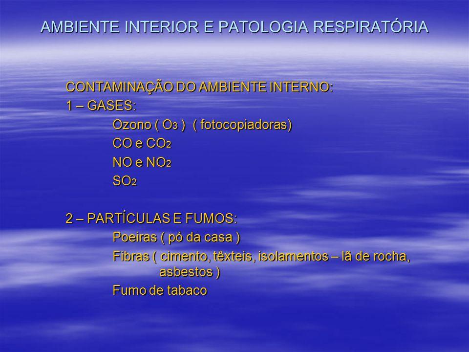 AMBIENTE INTERIOR E PATOLOGIA RESPIRATÓRIA CONTAMINAÇÃO DO AMBIENTE INTERNO: 1 – GASES: Ozono ( O 3 ) ( fotocopiadoras) CO e CO 2 NO e NO 2 SO 2 2 – P