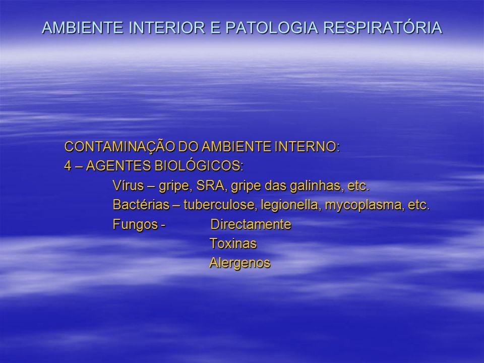 AMBIENTE INTERIOR E PATOLOGIA RESPIRATÓRIA CONTAMINAÇÃO DO AMBIENTE INTERNO: 4 – AGENTES BIOLÓGICOS: Vírus – gripe, SRA, gripe das galinhas, etc. Bact