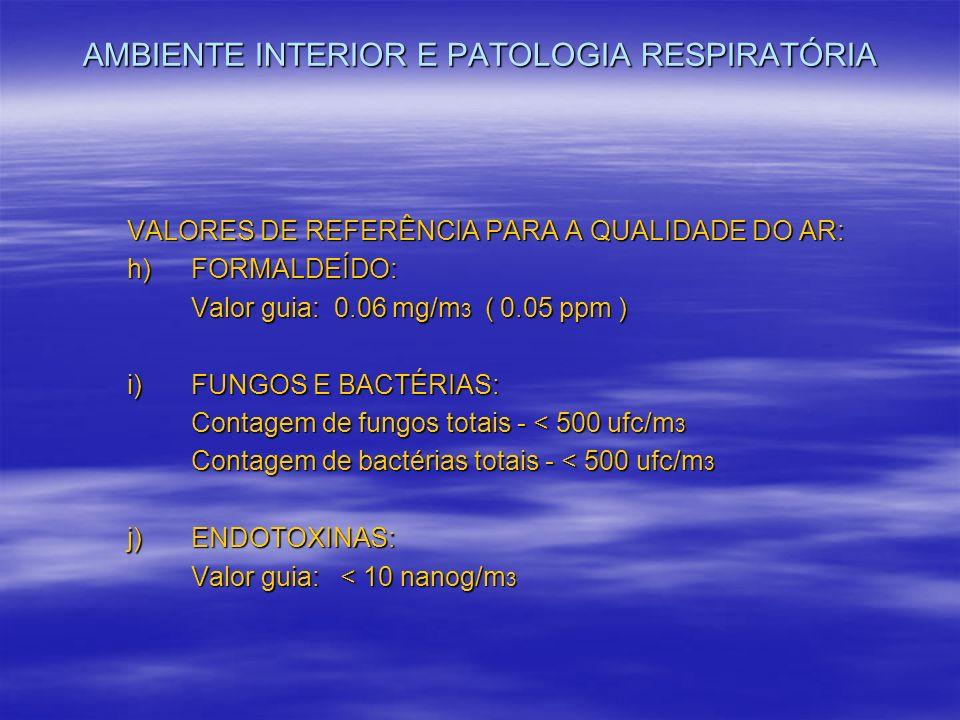 AMBIENTE INTERIOR E PATOLOGIA RESPIRATÓRIA VALORES DE REFERÊNCIA PARA A QUALIDADE DO AR: h) FORMALDEÍDO: Valor guia: 0.06 mg/m 3 ( 0.05 ppm ) i) FUNGO