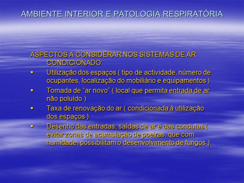 AMBIENTE INTERIOR E PATOLOGIA RESPIRATÓRIA ASPECTOS A CONSIDERAR NOS SISTEMAS DE AR CONDICIONADO: Utilização dos espaços ( tipo de actividade, número