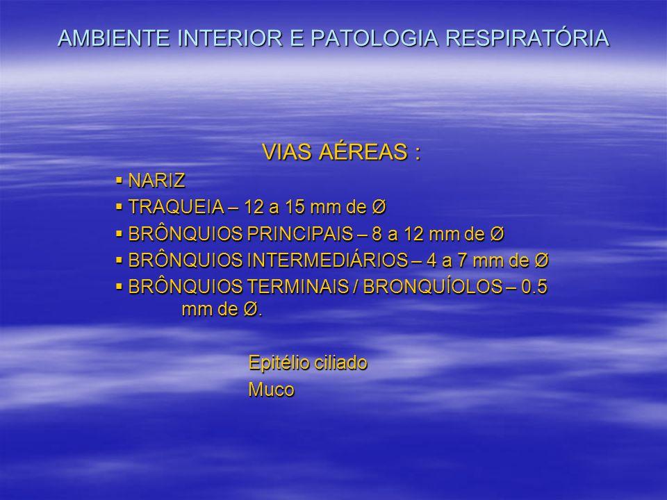 AMBIENTE INTERIOR E PATOLOGIA RESPIRATÓRIA VIAS AÉREAS : NARIZ NARIZ TRAQUEIA – 12 a 15 mm de Ø TRAQUEIA – 12 a 15 mm de Ø BRÔNQUIOS PRINCIPAIS – 8 a