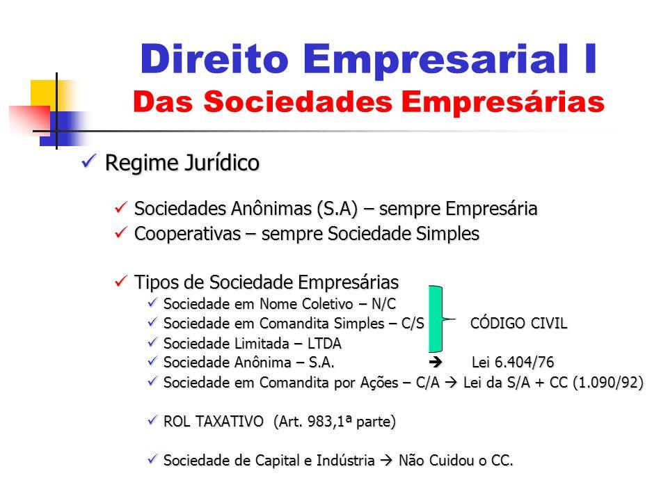 Regime Jurídico Regime Jurídico Sociedades Anônimas (S.A) – sempre Empresária Sociedades Anônimas (S.A) – sempre Empresária Cooperativas – sempre Soci
