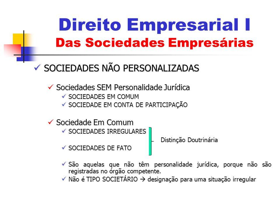 SOCIEDADES NÃO PERSONALIZADAS SOCIEDADES NÃO PERSONALIZADAS Sociedades SEM Personalidade Jurídica Sociedades SEM Personalidade Jurídica SOCIEDADES EM