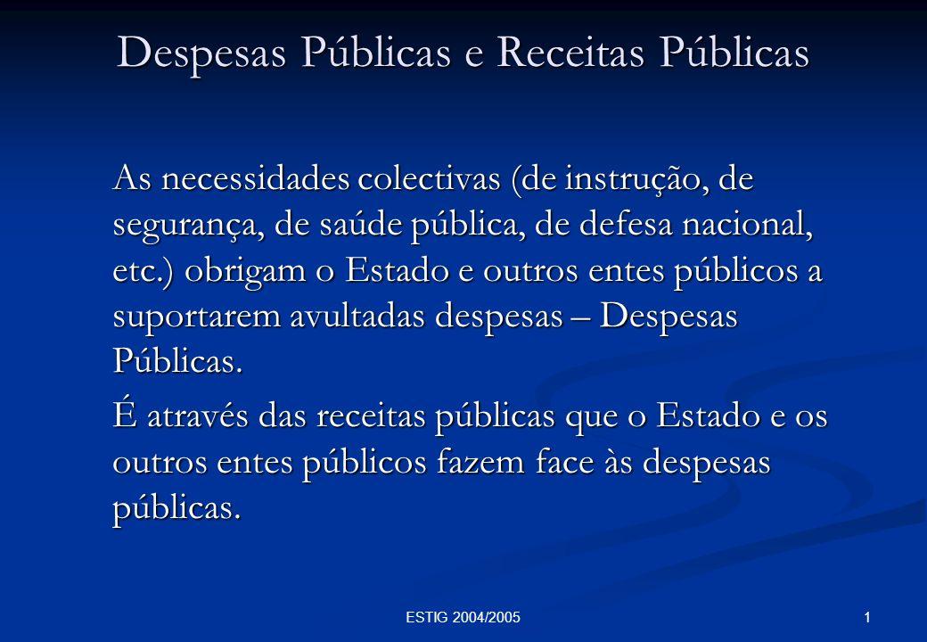1ESTIG 2004/2005 Despesas Públicas e Receitas Públicas As necessidades colectivas (de instrução, de segurança, de saúde pública, de defesa nacional, e