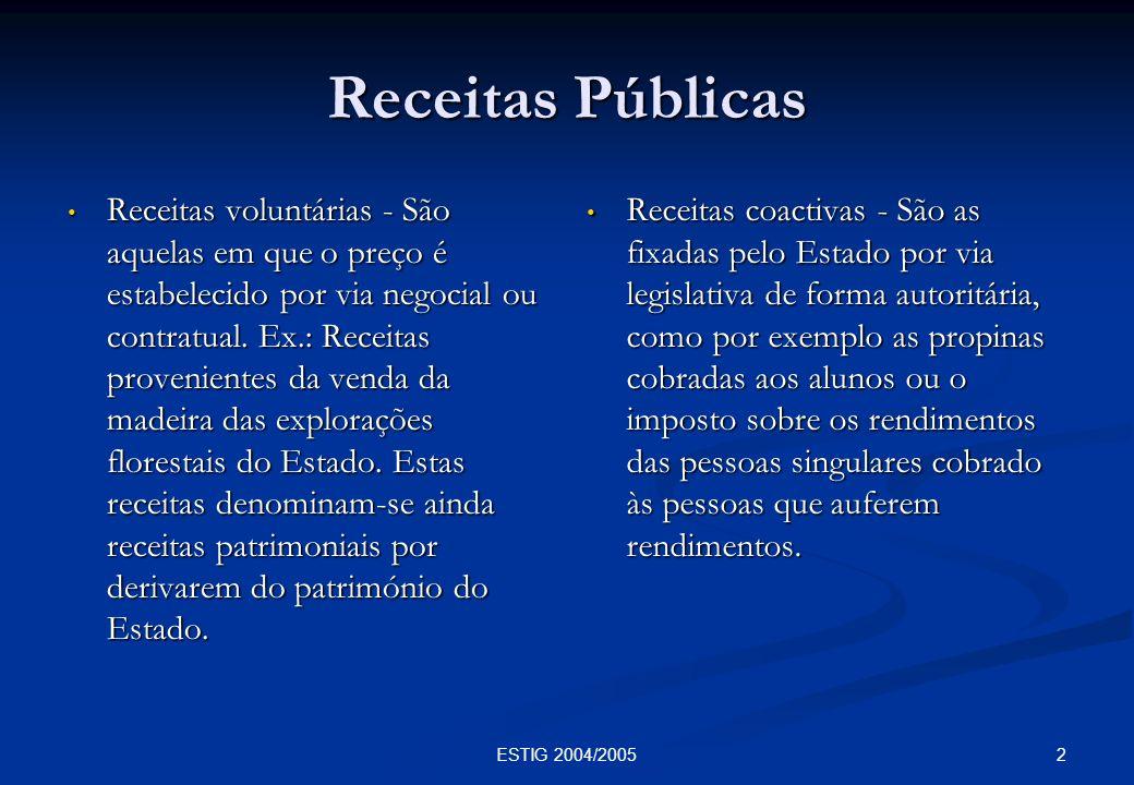 2ESTIG 2004/2005 Receitas Públicas Receitas voluntárias - São aquelas em que o preço é estabelecido por via negocial ou contratual. Ex.: Receitas prov