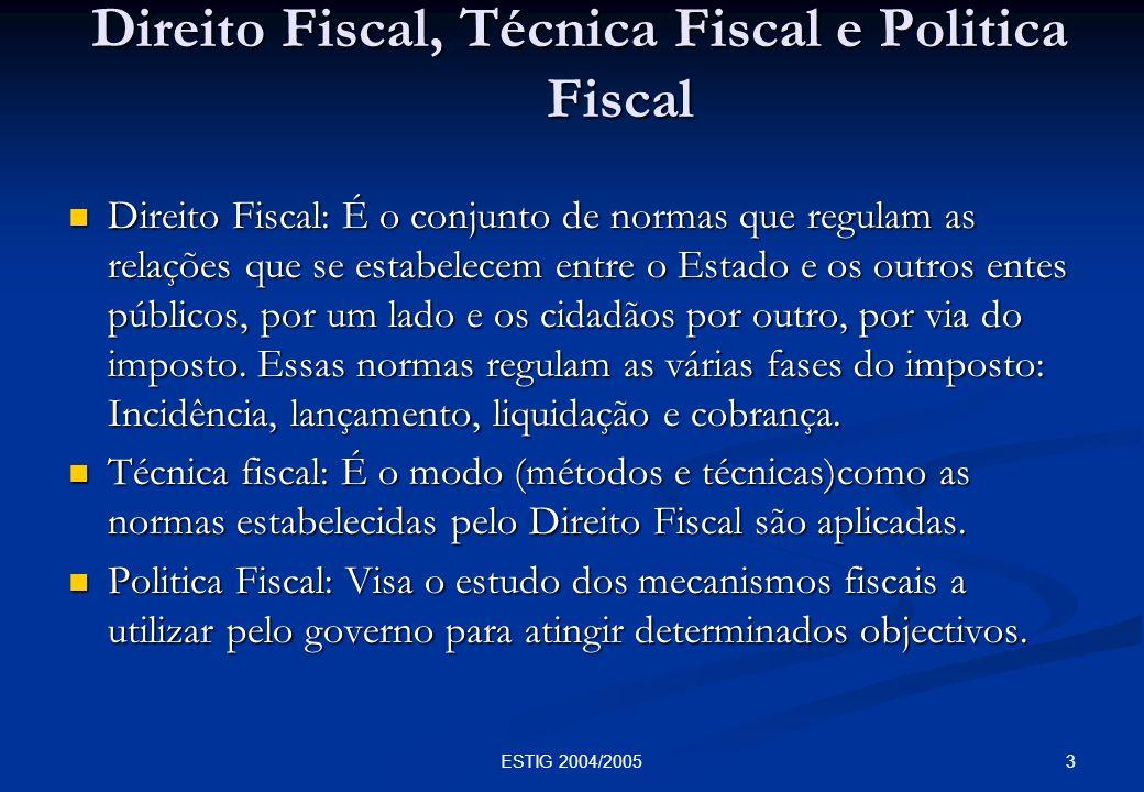 3ESTIG 2004/2005 Direito Fiscal, Técnica Fiscal e Politica Fiscal Direito Fiscal, Técnica Fiscal e Politica Fiscal Direito Fiscal: É o conjunto de nor