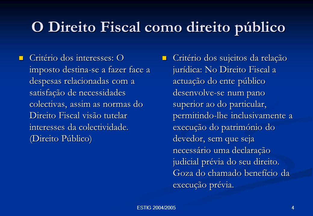 4ESTIG 2004/2005 O Direito Fiscal como direito público O Direito Fiscal como direito público Critério dos interesses: O imposto destina-se a fazer fac