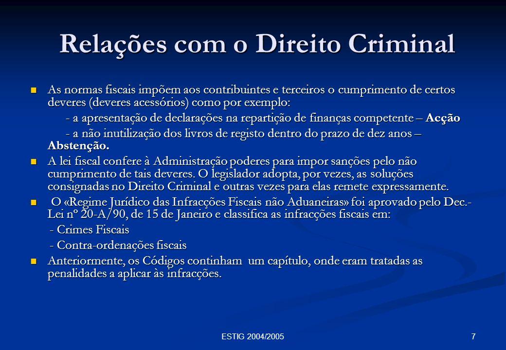 7ESTIG 2004/2005 Relações com o Direito Criminal Relações com o Direito Criminal As normas fiscais impõem aos contribuintes e terceiros o cumprimento