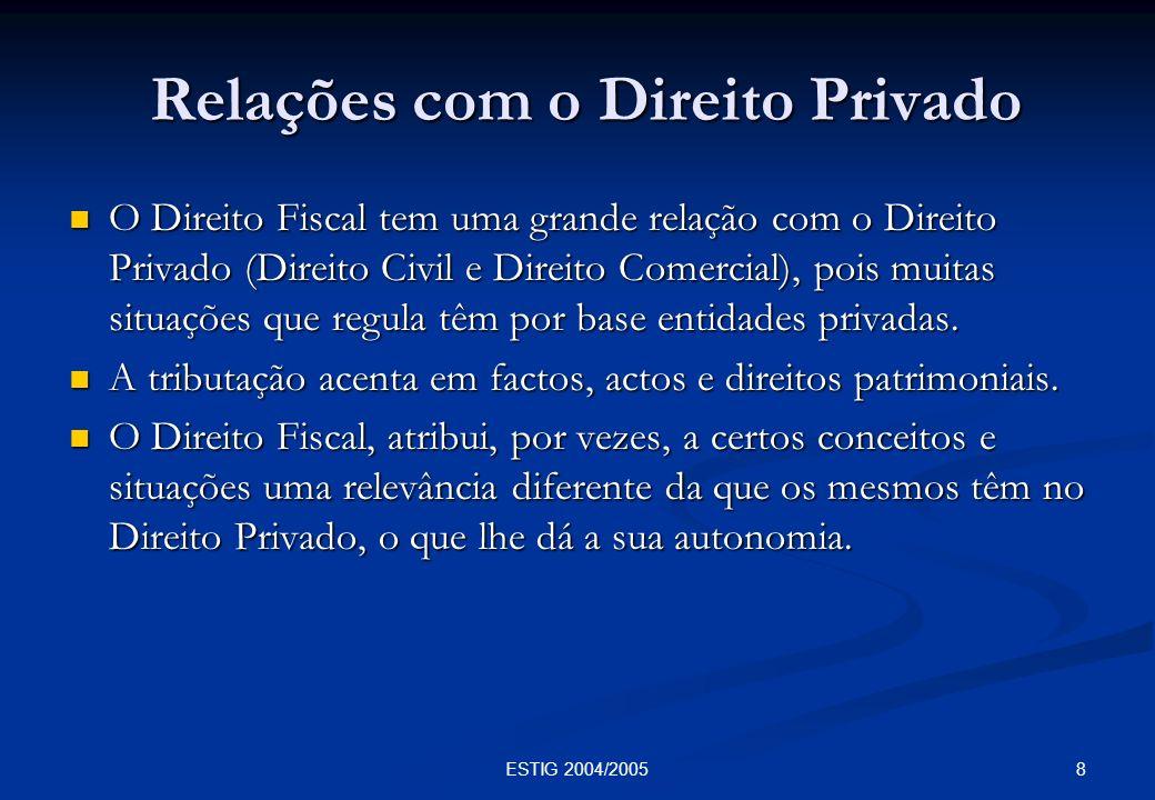 8ESTIG 2004/2005 Relações com o Direito Privado Relações com o Direito Privado O Direito Fiscal tem uma grande relação com o Direito Privado (Direito