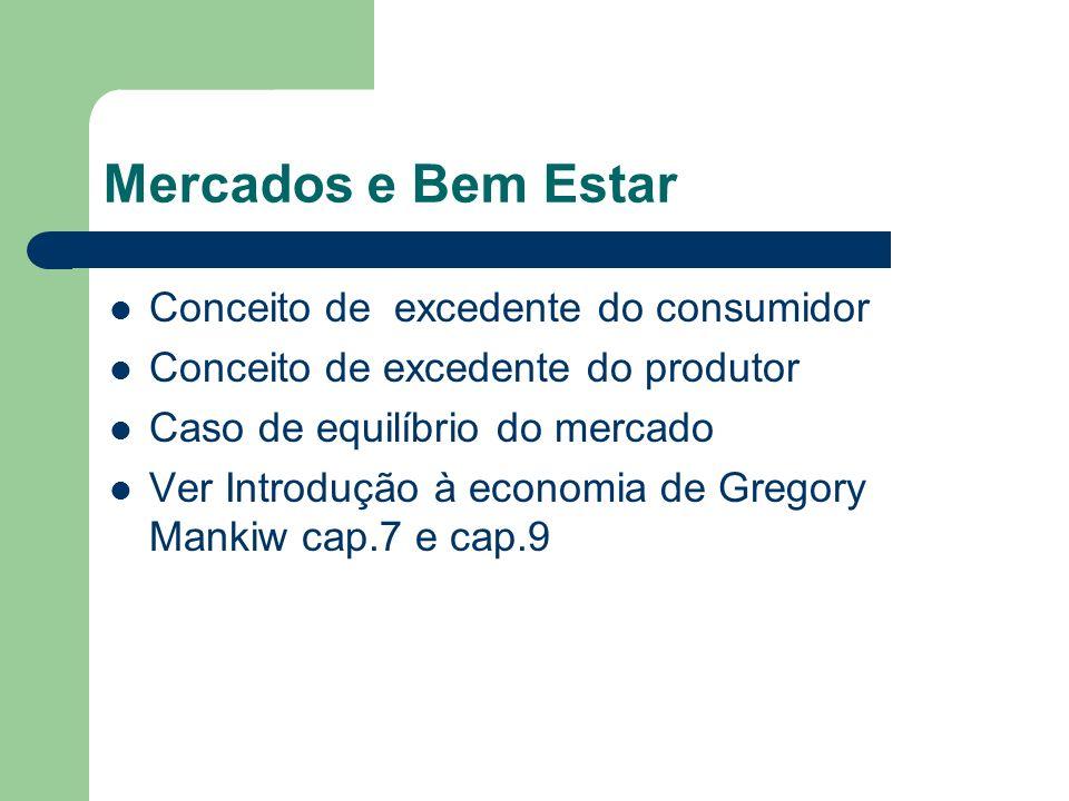 Mercados e Bem Estar Conceito de excedente do consumidor Conceito de excedente do produtor Caso de equilíbrio do mercado Ver Introdução à economia de