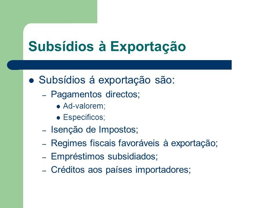 Subsídios à Exportação Subsídios á exportação são: – Pagamentos directos; Ad-valorem; Especificos; – Isenção de Impostos; – Regimes fiscais favoráveis