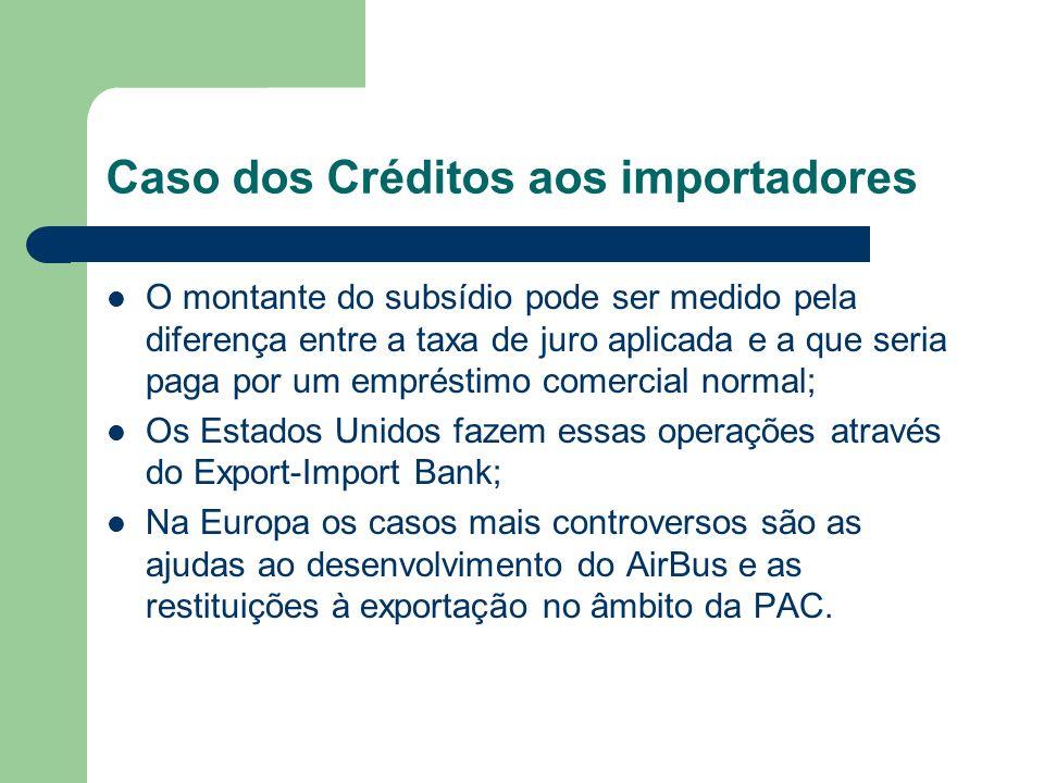 Caso dos Créditos aos importadores O montante do subsídio pode ser medido pela diferença entre a taxa de juro aplicada e a que seria paga por um empré