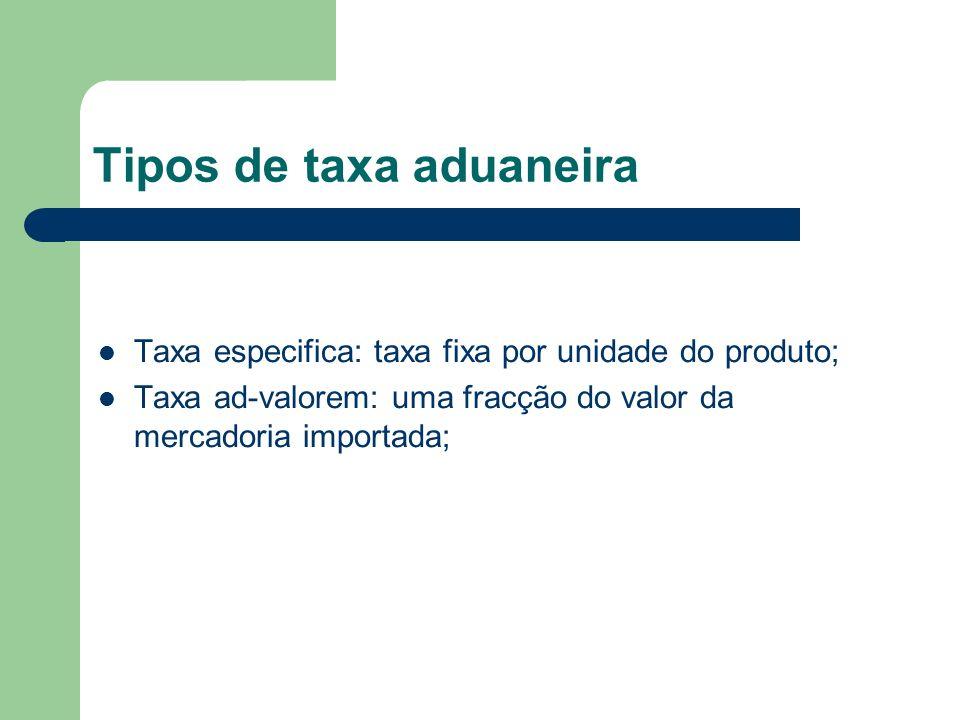 Tipos de taxa aduaneira Taxa especifica: taxa fixa por unidade do produto; Taxa ad-valorem: uma fracção do valor da mercadoria importada;