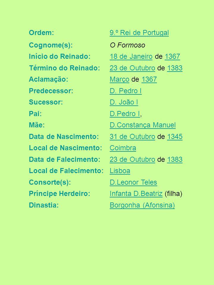 Ordem:9.º Rei de Portugal Cognome(s):O Formoso Início do Reinado:18 de Janeiro18 de Janeiro de 13671367 Término do Reinado:23 de Outubro23 de Outubro
