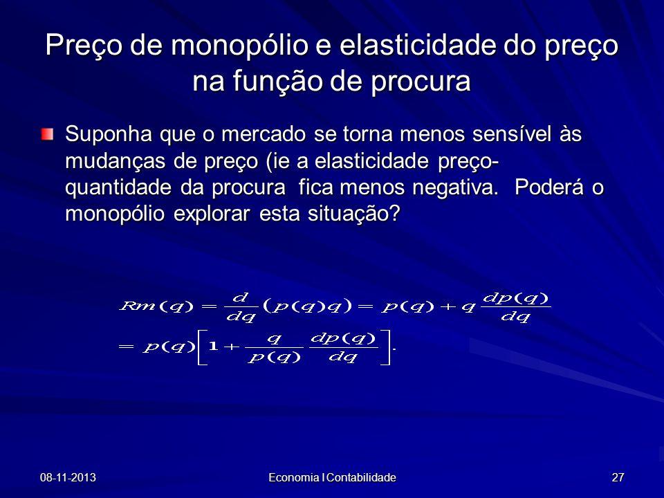08-11-2013 Economia I Contabilidade 27 Preço de monopólio e elasticidade do preço na função de procura Suponha que o mercado se torna menos sensível à